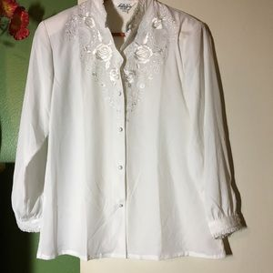 Vintage Detailed White Blouse